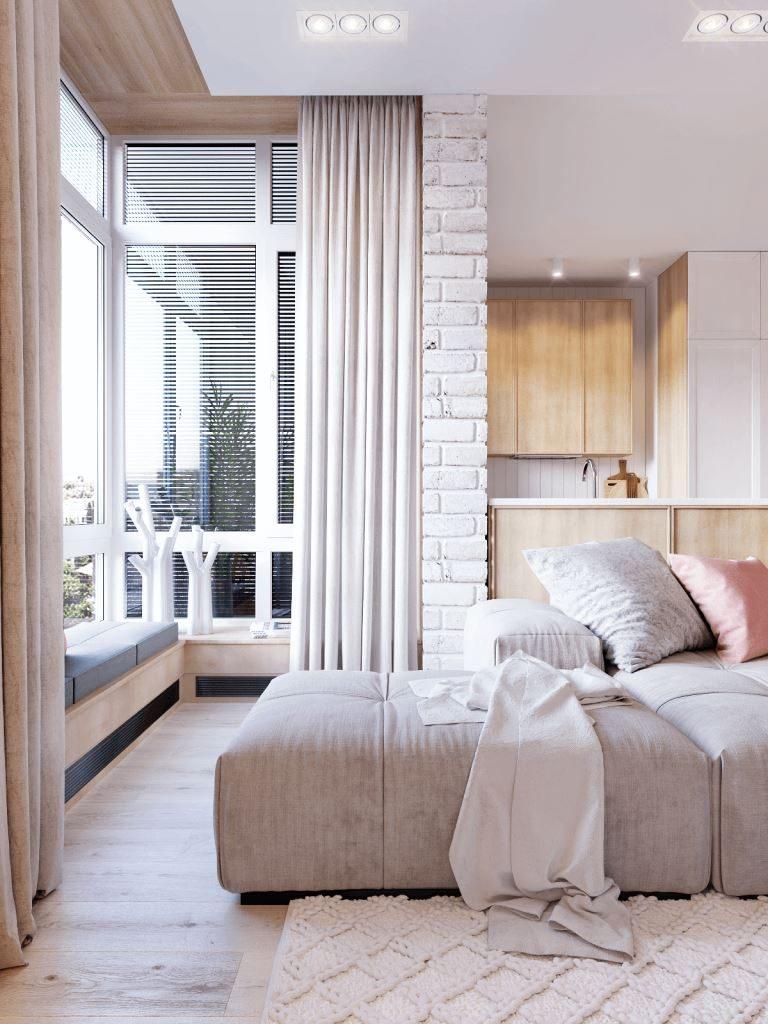 diseños para paredes blancas-textura-ladrillo-cocina-salon