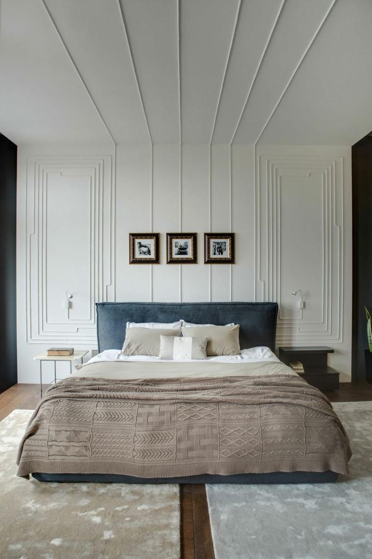 diseños para paredes blancas-textura-madera-dormitorio
