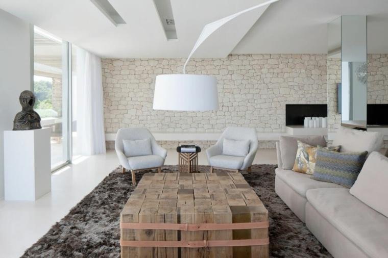 diseños para paredes blancas-textura-piedras