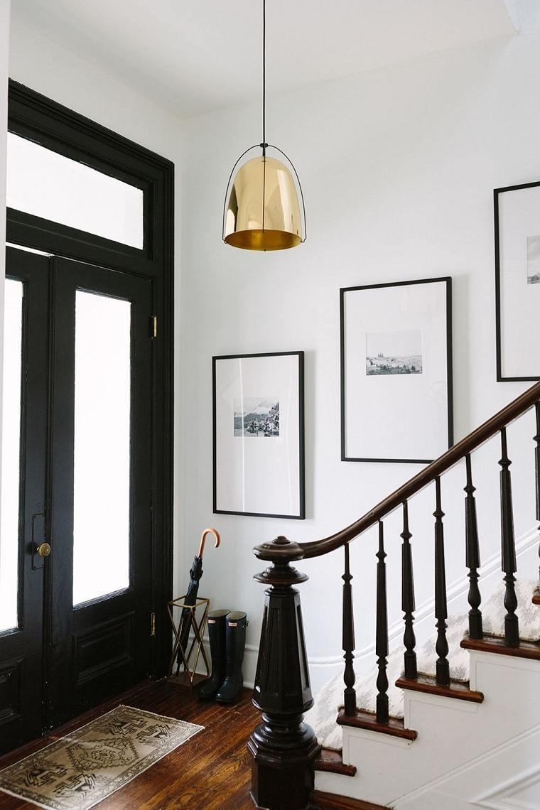 entradas modernas-muebles-decoracion-paredes-blanco-negro