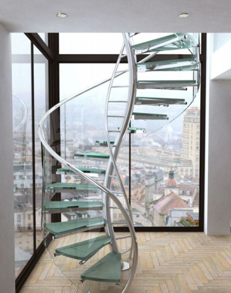 escaleras de hierro interior-cristal-decorar