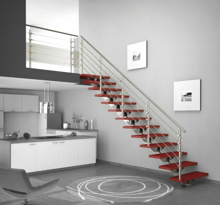 escaleras de interior modernas-metal-decorar