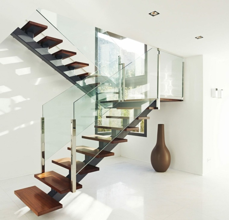 escaleras de madera interiores-cristal