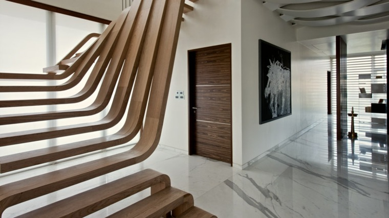 escaleras interiores modernas-madera-decorar