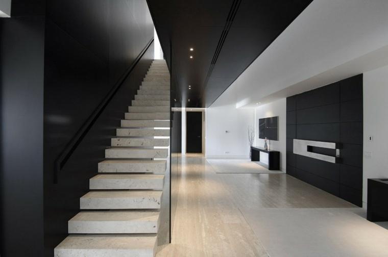escaleras modernas interiores-blanco-negro