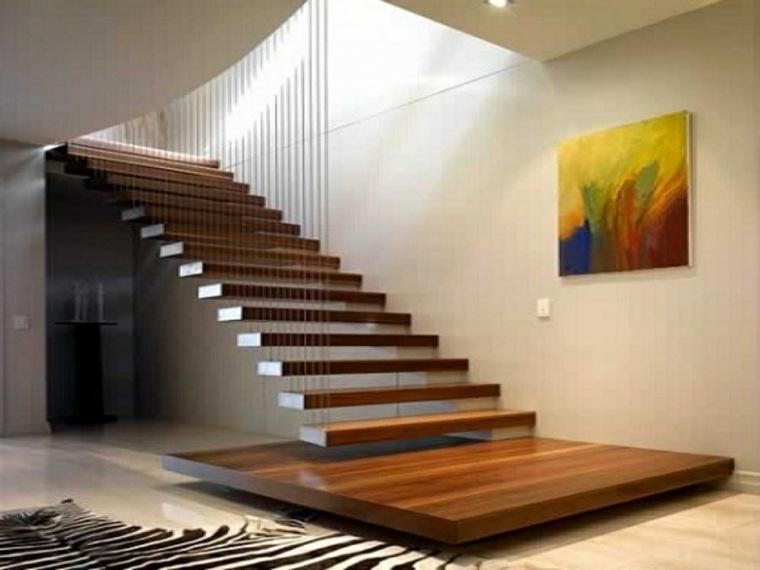 escaleras modernas-flotantes-madera-decorar