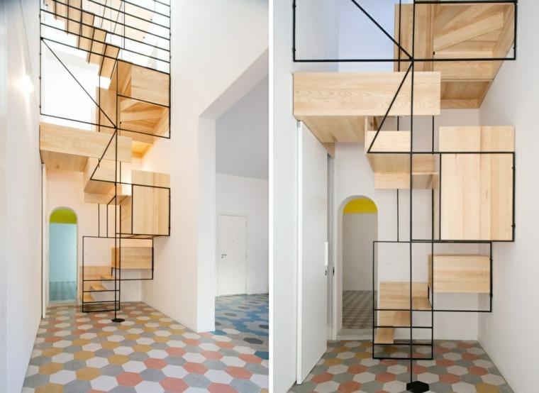 Escaleras modernas de madera hierro y cristal para el - Escaleras modernas interiores ...