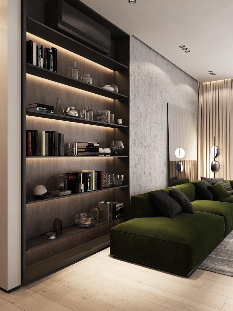 diseño de interiores de casas estanteria-madera-nogal-casa-modernas