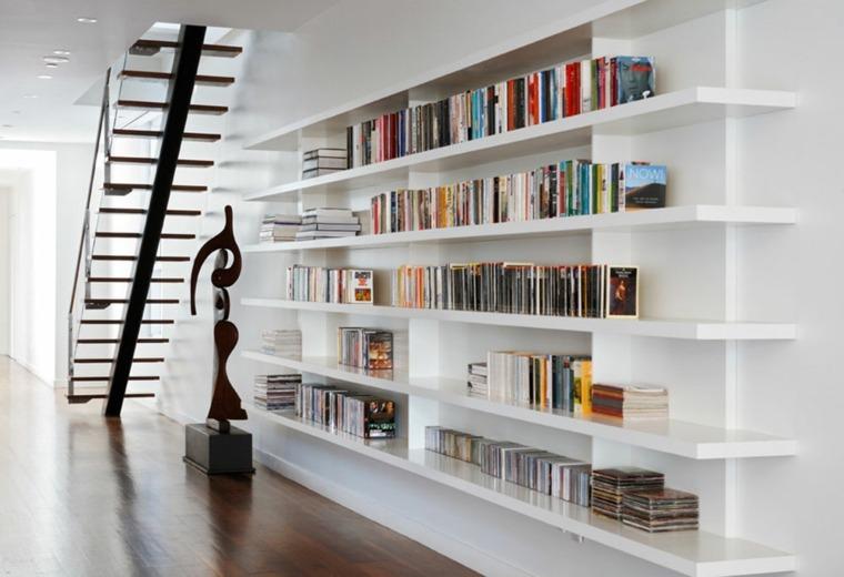 estantes para libros blancos