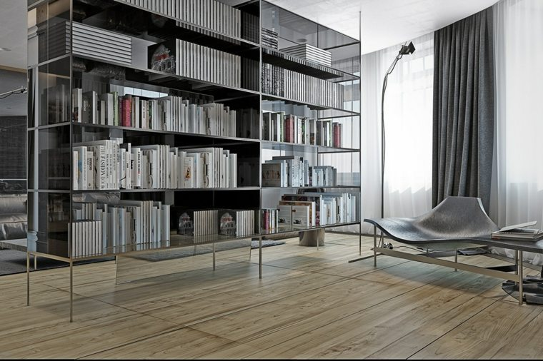 estantes para libros monocromaticos