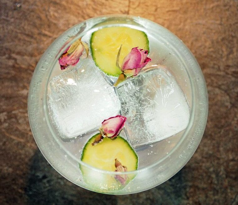 gin tonic-pepinos-petalos-rosa-ideas
