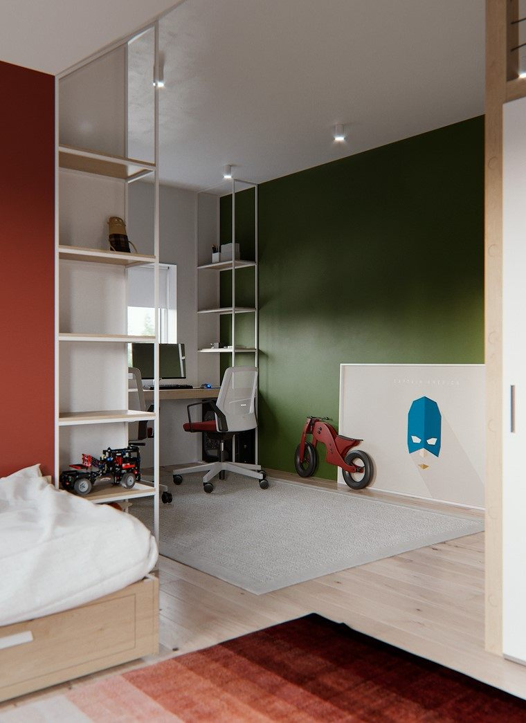 habitaciones-infantiles-nino-pared-enfoque-color-verde-oscuro