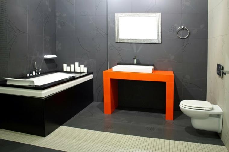 interiores de banos-acentos-naranjas