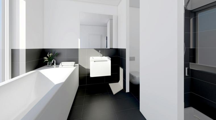 interiores de banos modernos-blanco-negro
