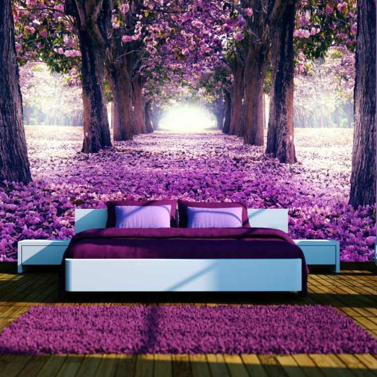 interiores de cuartos-flores-moradas