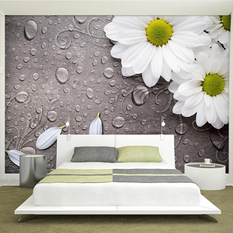 interiores de cuartos-flores-paredes