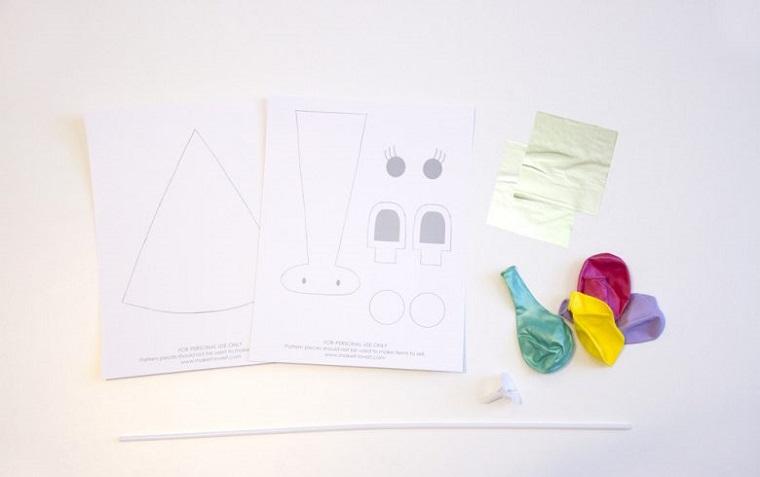manualidades sencillas-globos-unicornio-materiales