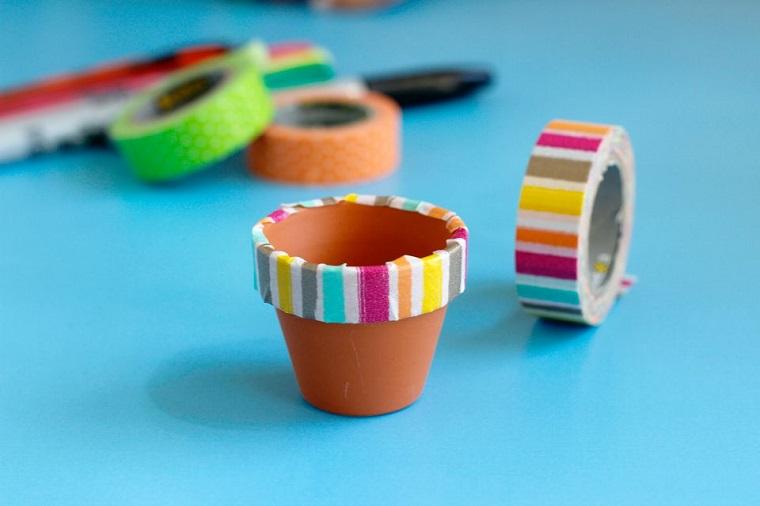 manualidades sencillas-jardin-miniatura-macetas-washi-tape