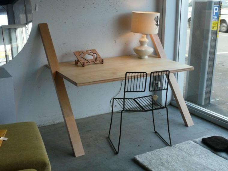mesa de escritorio de pared de madera