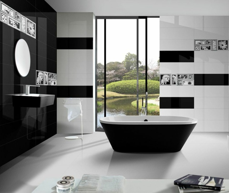 modelos de banos modernos-blanco-negro