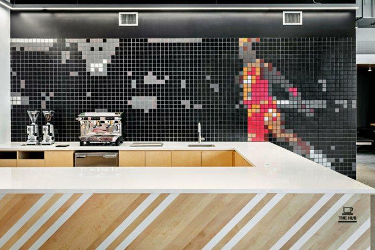 Mosaico de Michael Jordan en la cafetería de la sede de Nike
