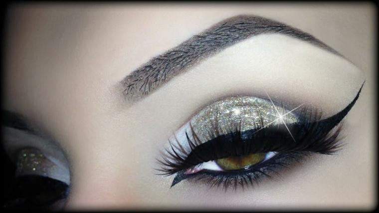 ojos maquillados-noche-purpurina
