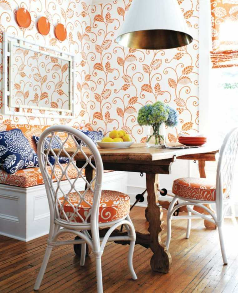 papel-de-pared-decorativo-comedor-blanco-naranja