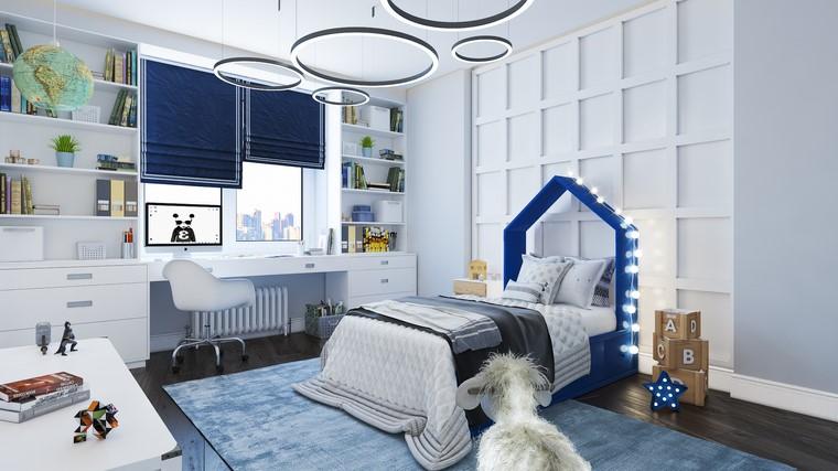 paredes-blancas-detalles-azul-estilo-habitacion-nino