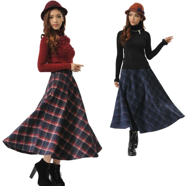 ropa de dama-falda-larga-cuadros