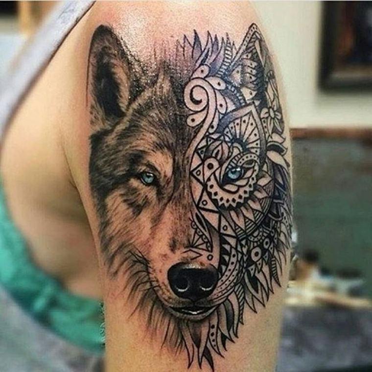 tatuaje lobo-brazo-hombre