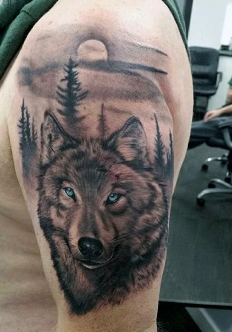 tatuajes de lobos-paisaje-hombres