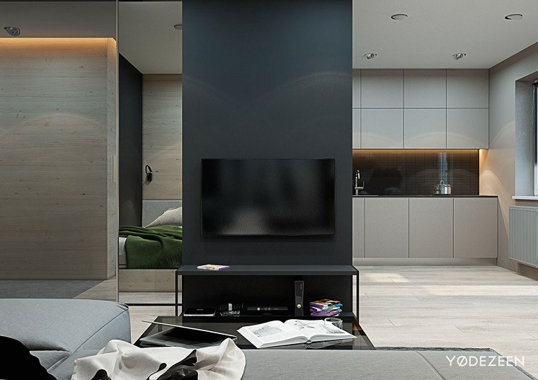 televisor-pared-fondo-contrastante