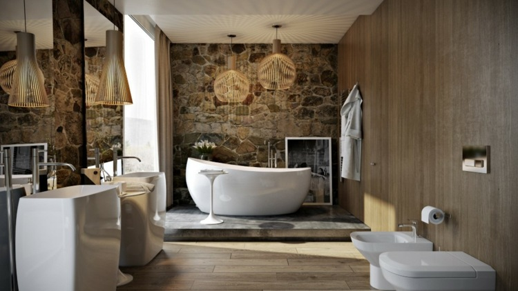 baños modernos paredes rocas
