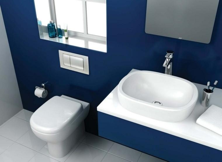 Ba os modernos de color azul para unos espacios llenos de armon a - Banos en azul y blanco ...
