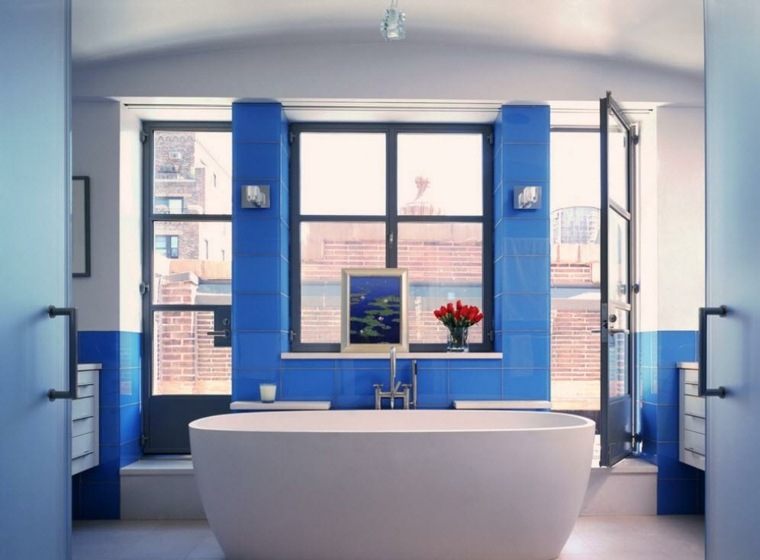 banos modernos-decorados-azul