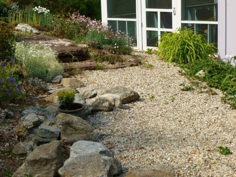 Landscaping with river stones