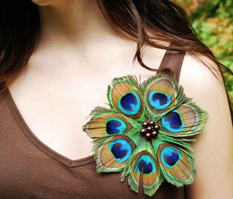 Original broche de pluma de pavo real