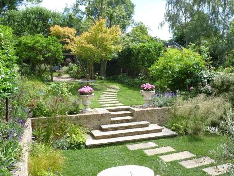 decoración jardín-ideas-escaleras-opciones-camino-losas