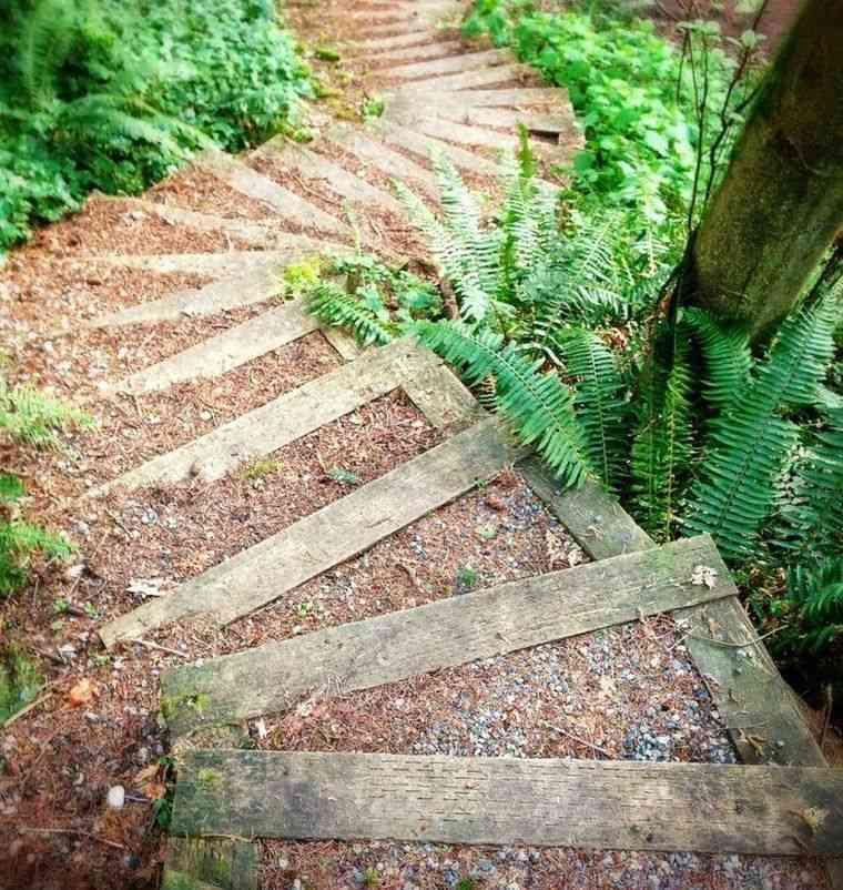 decoración jardín ideas-escaleras-opciones-madera