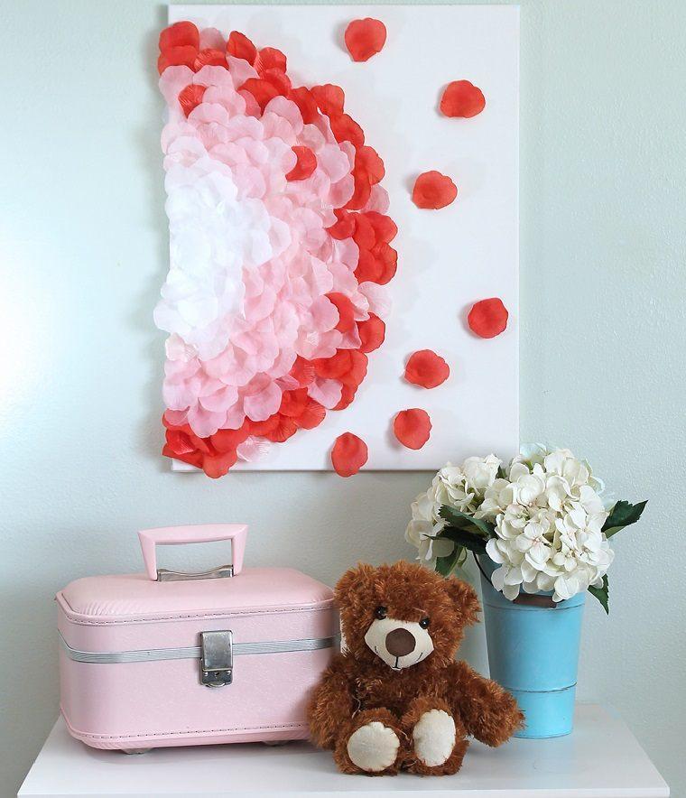 decoracion-pared-cuadro-petalos-rosa-decorar