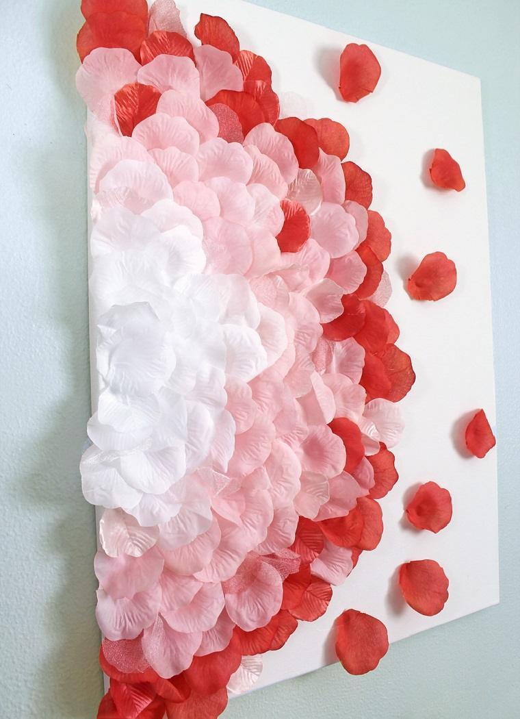 decoracion-pared-cuadro-petalos-rosa-estilo