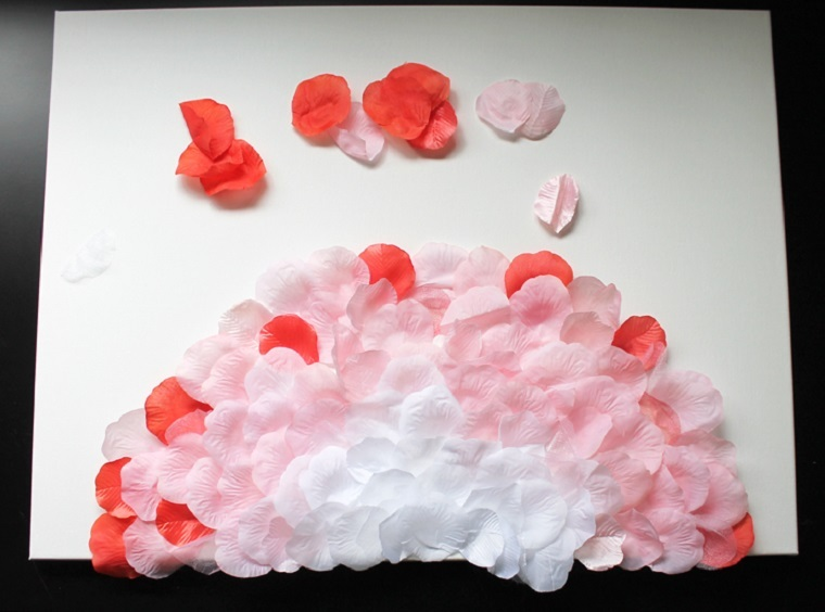 decoracion-pared-cuadro-petalos-rosa-manualidades