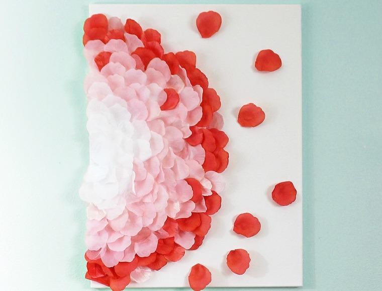 decoracion-pared-cuadro-petalos-rosa