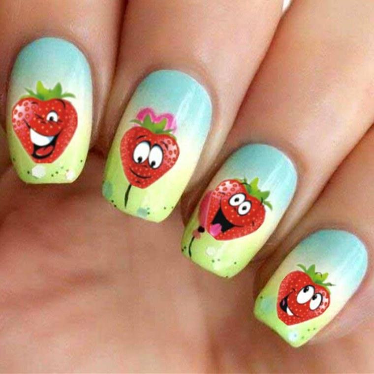dibujos para unas-pegatinas-frutas-decorar