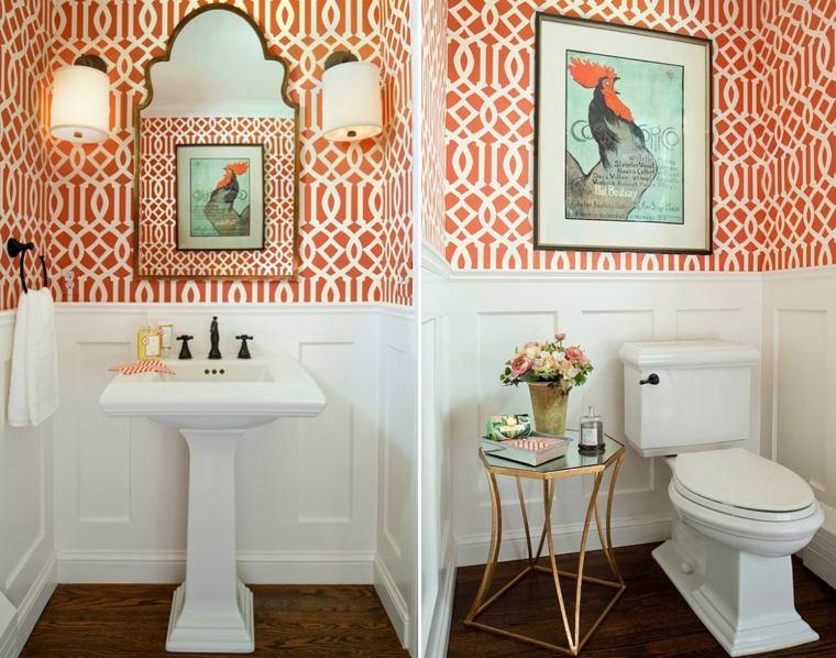 diseño baño-naranja-y-blanco