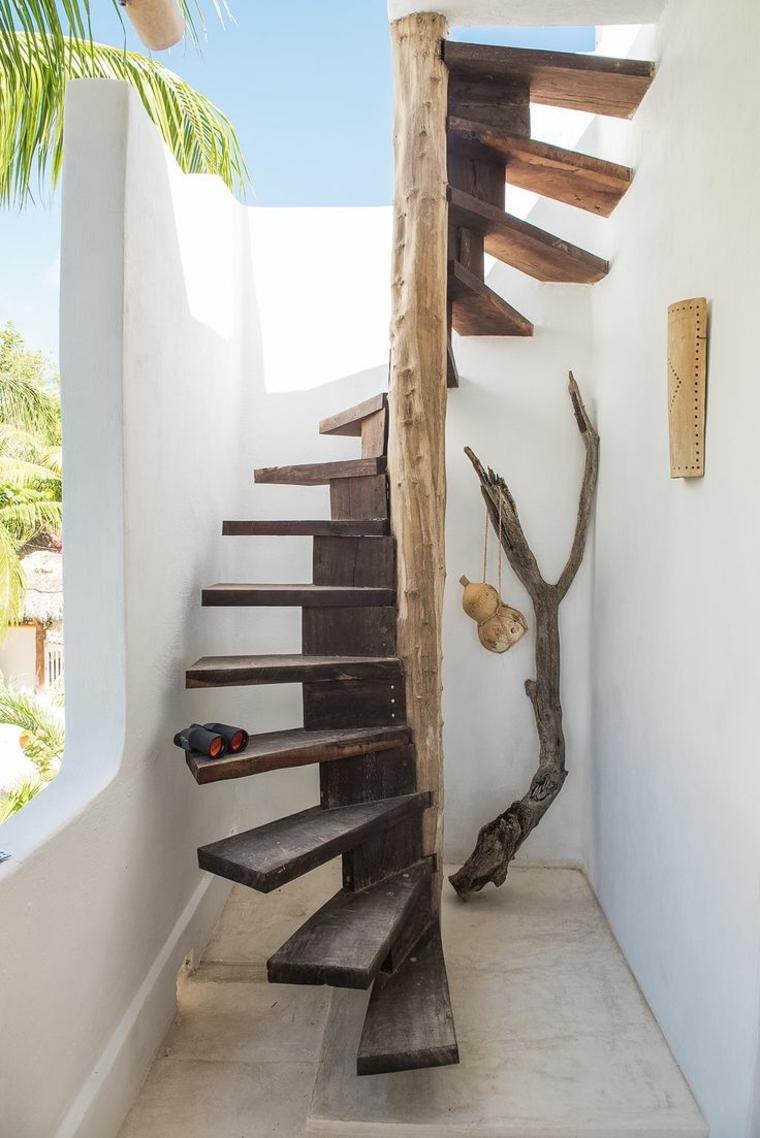 Dise o de escaleras de madera y piedras para jardines for Escalera de jardin de madera