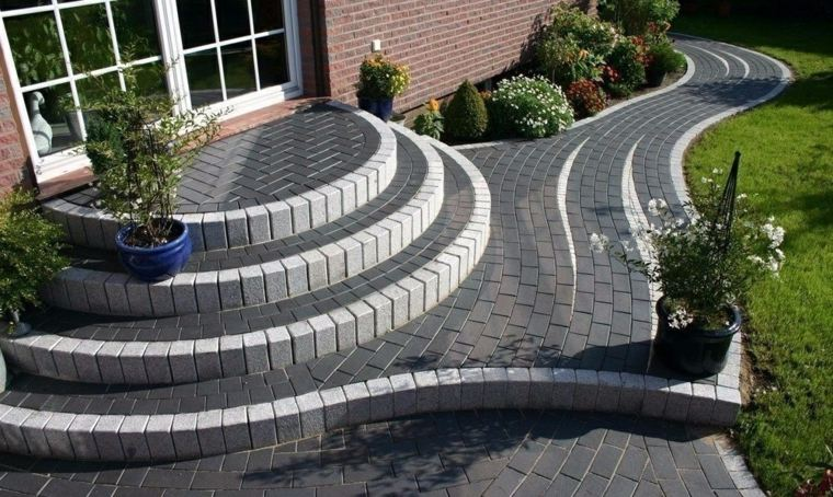 Dise o de escaleras exteriores para jardines modernos for Escalera de bloque de jardin