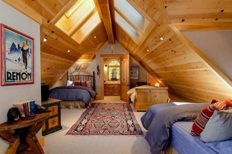 dormitorio-en-el-desvan-de-madera