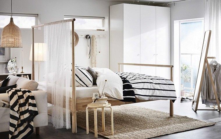 dormitorios ikea-ideas-cama-madera-estilo-moderno