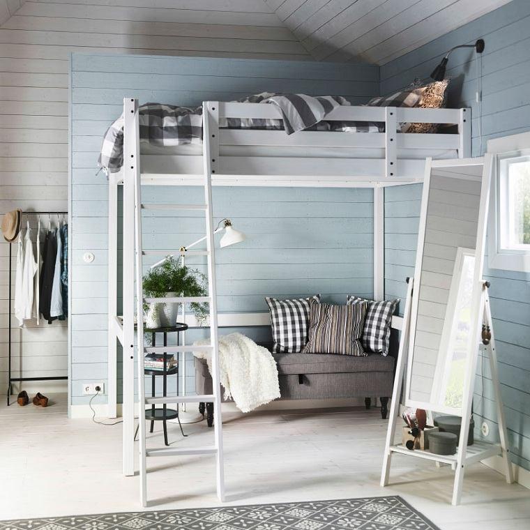 dormitorios ikea-opciones-cama-blanca-madera-alta-diseno